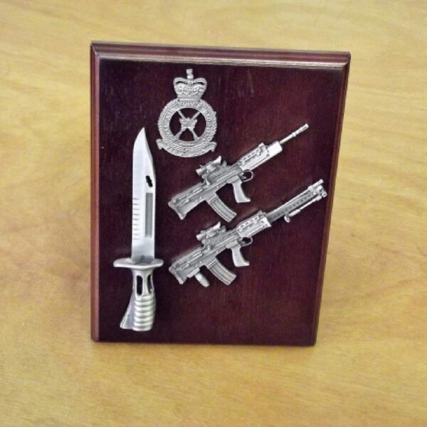 RAF SA80 & LSW & Bayonet Triple Small Scale Weapon Plaque